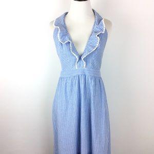NLW Blue Pinstripe Ruffle Tie Back Dress Size L